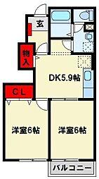 JR鹿児島本線 折尾駅 6.3kmの賃貸アパート 1階2DKの間取り