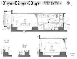 東京メトロ日比谷線 築地駅 徒歩19分の賃貸マンション 3階1Kの間取り