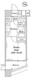 ファーストリアルタワー新宿 5階1Kの間取り