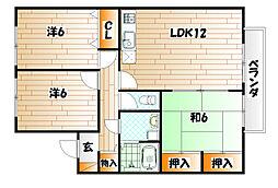 ニューセジュール緑ヶ丘 D棟[1階]の間取り