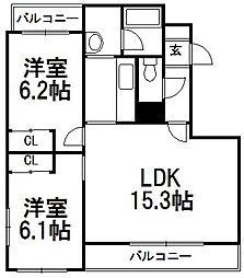 北海道札幌市手稲区西宮の沢二条4丁目の賃貸マンションの間取り