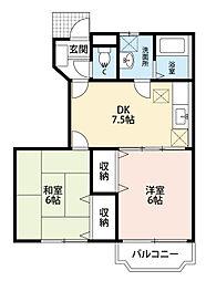 福岡県北九州市若松区ひびきの南2丁目の賃貸アパートの間取り