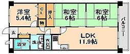 兵庫県伊丹市中野東2丁目の賃貸マンションの間取り