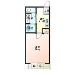 Osaka Metro四つ橋線 岸里駅 徒歩4分の賃貸マンション 2階1DKの間取り