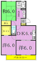 千葉県流山市大字鰭ケ崎の賃貸アパートの間取り