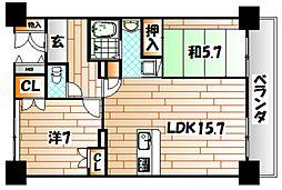 ルワージュ八幡駅前I[11階]の間取り