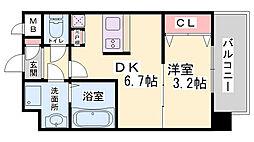SOAR SINNAGATA 11階1DKの間取り