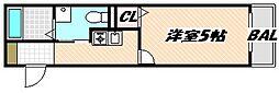 JR京葉線 南船橋駅 徒歩17分の賃貸アパート 2階1Kの間取り