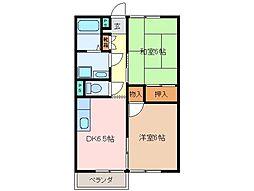 三重県松阪市桂瀬町の賃貸アパートの間取り