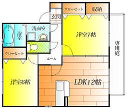 ヴァン・ヴェール 南棟[2階]の間取り