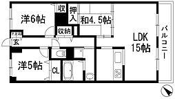 兵庫県伊丹市中野北1丁目の賃貸マンションの間取り
