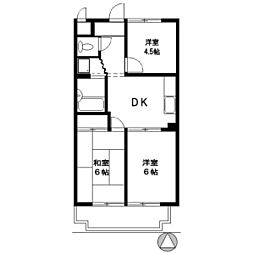 ヒヨシハイツ[4階]の間取り