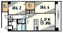 フルール・デ・ポワ武庫之荘[205号室]の間取り