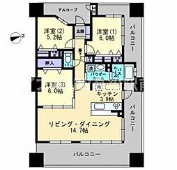 香川県高松市桜町1丁目の賃貸マンションの間取り