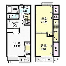 茨城県水戸市東前町の賃貸アパートの間取り