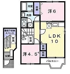 山口県下関市富任町5の賃貸アパートの間取り