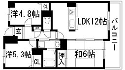 兵庫県伊丹市寺本1丁目の賃貸マンションの間取り