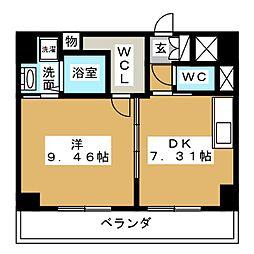 愛知県名古屋市中区錦2丁目の賃貸マンションの間取り