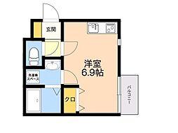 (仮称)箱崎4丁目新築アパート 1階ワンルームの間取り
