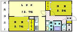 福岡県宗像市ひかりヶ丘6の賃貸アパートの間取り