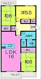 奈良県奈良市左京2丁目の賃貸マンションの間取り