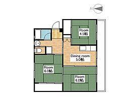 ビレッジハウス南小足第二2号棟[205号室]の間取り