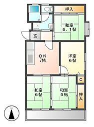 ハイツ東桜[7階]の間取り