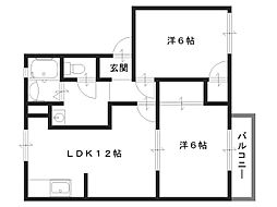 ガーデンベルべI[1階]の間取り