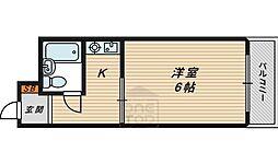 エンビラム野江都島 2階ワンルームの間取り