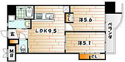 ギャラン井堀[10階]の間取り