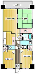 deuxローズレイアB棟[2階]の間取り