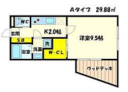 ピアチェーレ山田 1階1Kの間取り