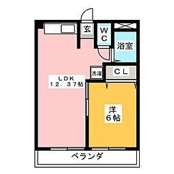 横山ハイツA棟[2階]の間取り