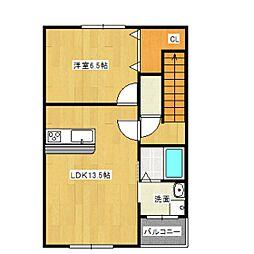 ボニートB[3階]の間取り