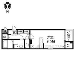 大阪モノレール本線 南茨木駅 徒歩15分の賃貸アパート 3階ワンルームの間取り