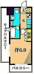 アジールコート東大井 5階1Kの間取り