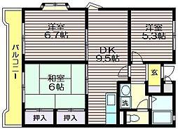 東京都調布市西つつじケ丘1の賃貸マンションの間取り
