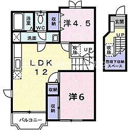 岡山県岡山市北区京山2丁目の賃貸アパートの間取り