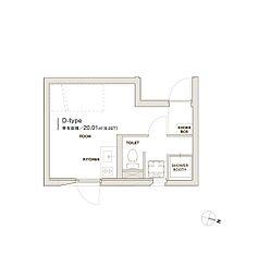 モデリアデイズ護国寺 3階ワンルームの間取り