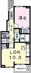 兵庫県姫路市大津区吉美の賃貸アパートの間取り
