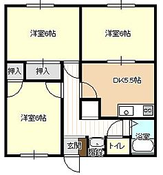 福岡県北九州市小倉南区蒲生4丁目の賃貸アパートの間取り