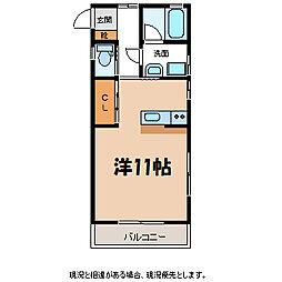 JR飯田線 駒ヶ根駅 徒歩19分の賃貸アパート 1階ワンルームの間取り