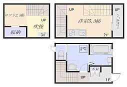 JR山陽本線 五日市駅 徒歩9分の賃貸アパート 1階ワンルームの間取り