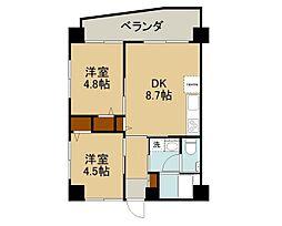 沖縄都市モノレール 儀保駅 徒歩23分の賃貸マンション 4階2DKの間取り