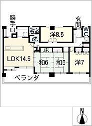 ナビハイツ六軒605号室[6階]の間取り
