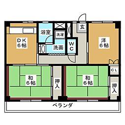 ビレッジハウス四郎丸1号棟[4階]の間取り