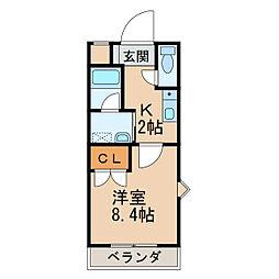 ル・マンA3番館 2階1Kの間取り