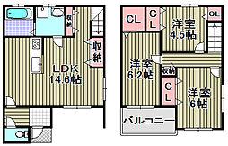 [タウンハウス] 大阪府泉南市樽井3丁目 の賃貸【/】の間取り