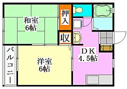 シャトーフローラルN−1[1階]の間取り