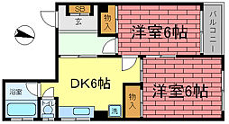 城内マンション[3階]の間取り